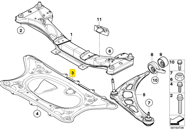 Genuine BMW E46 M3 Front Axle Reinforcement Plate for sale