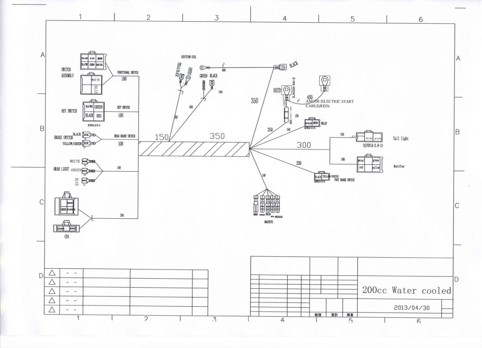 hight resolution of full electrics wiring harness cdi coil 200cc 250cc atv quad bike 200cc dirt bike wiring diagram