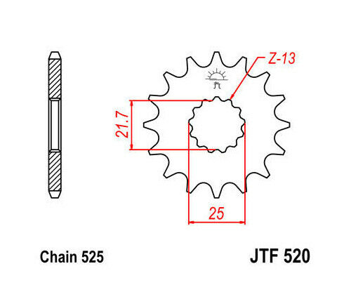 JT Front Sprocket 525 17T #JTF520.17 fits Suzuki GSXR750/V