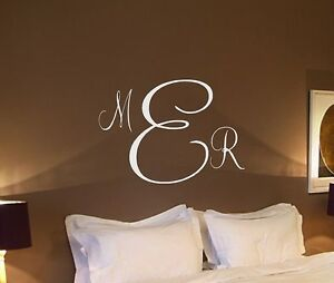 personalized monogram initials vinyl wall decal home decor wedding