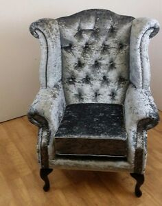 crushed velvet chair x rocker pedestal video gaming steel grey queen anne wing ebay image is loading
