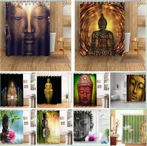 details about buddha statue shower curtain liner 100 polyester fabric bathroom set hooks
