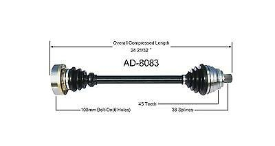 New CV Drive Axle Shaft Fits Audi A6, S6 1995-97 Front