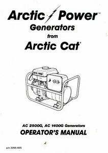 Arctic Cat 1400G 2500G Generator Owners Manual : 2255-655