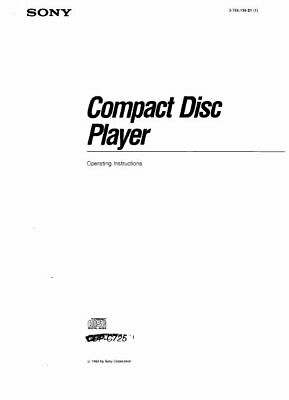 SONY CDP-C725 OPERATING INSTRUCTIONS BOOK IN ENGLISH CD