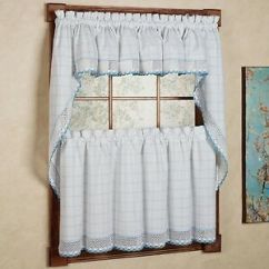 Swag Kitchen Curtains How Much Does An Outdoor Cost Adirondack Cotton Window White Blue Tiers Image Is Loading