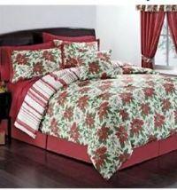 KING SIZE Christmas Poinsettia Wreath Comforter Sham ...