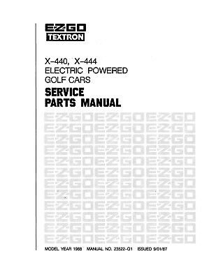 1987-1990 E-Z-GO Electric X-440 X-444 Service Repair Parts