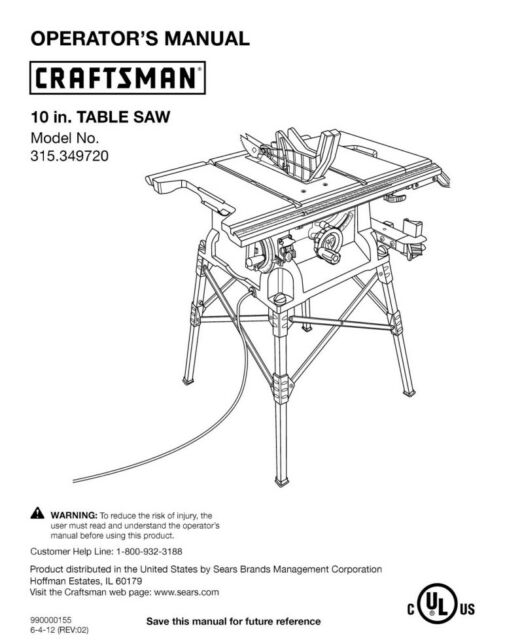 Craftsman 315.349720 Table Saw Owners Instruction Manual