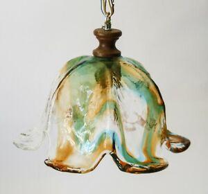 Lampada nordica vetro colorato decorazione d'interni illuminazione lampadario di ghiaccio sala da pranzo lustro pendente cristal lampadario illuminazione. Lampada A Sospensione Lampadario In Vetro Spesso Colorato Vintage Design 70 Ebay