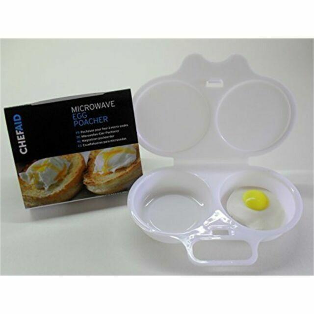 2x chef aid microwave egg poacher to poach 2 eggs white