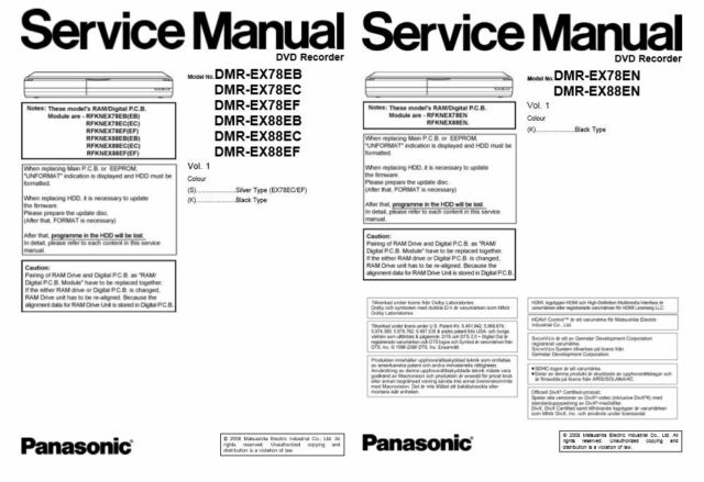 Panasonic Dmr-ex78 Ex88 DVD Recorder Service Manual for