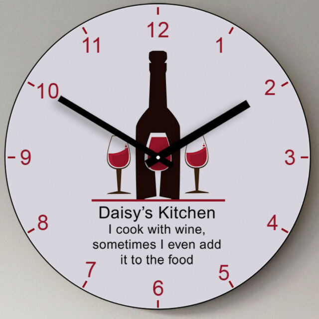 wooden kitchen clock painted chairs personalised wine glasses wall home wedding new gift