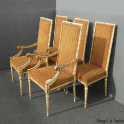Striped Dining Chair Office Support Set Four Vintage French Provincial Orange Chairs Five