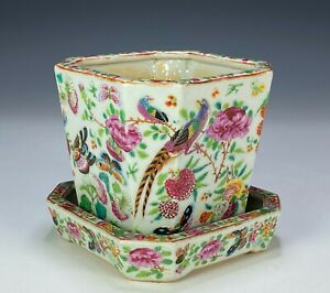 Antique Chinese Famille Rose Porcelain Planter with Stand