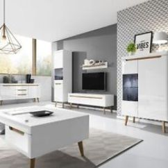 Living Room Tv Units Blue And White Decorating Ideas New Oak Retro Scandinavian Set Display Cabinets Image Is Loading