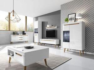 scandinavian living room furniture all white decor new oak retro set display cabinets image is loading