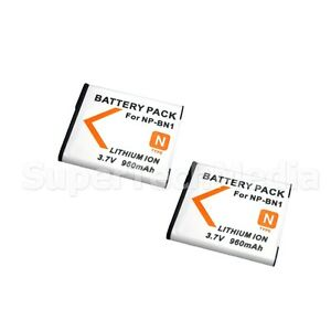2 Battery For Sony NP-BN1 Cyber Shot DSC-WX7 WX9 W610 W620