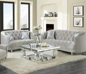 glam sofa set floor modern living room 2 piece loveseat couch silver image is loading