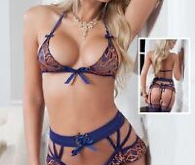 Image Is Loading Sexy Lingerie Set Blue Orange Women Bra High