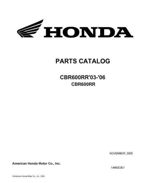 Honda 2003-2006 CBR600RR Parts Catalog Service Shop Repair