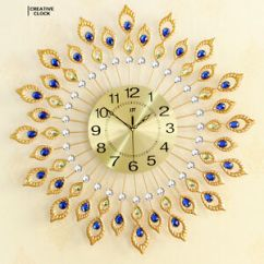 Living Room Wall Clocks Colors For Paint Diamond Peacock Iron Art Clock Watch Home Image Is Loading