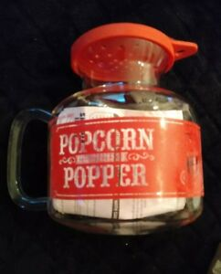 details about sharper image microwave popcorn popper clear red glass 2 25qt jar instructions