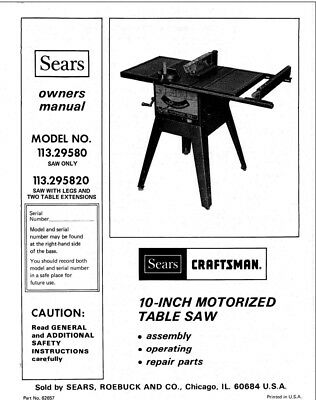 Craftsman 113.29580 113.295820 Table Saw Owners