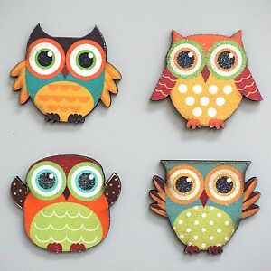 kitchen magnets space saving table wood owl magnetic decoration lover set of 4 ebay image is loading