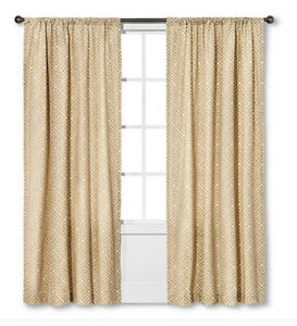 details about set of 2 pottery barn greek key drapes 23 x 104 curtain panels gold cream