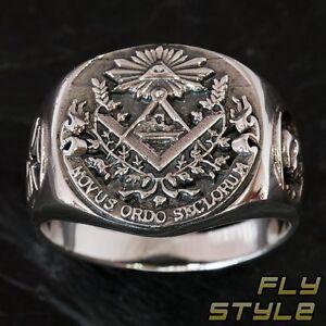 925 Silber Freimaurer Siegelring tempelritter herren ring