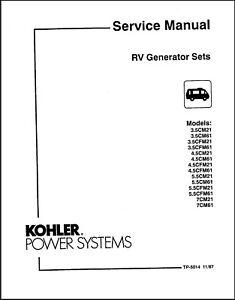 Kohler RV Generator Sets Service Repair Maintenance Manual