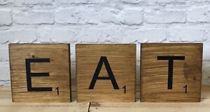 details about stained rustic xl large big solid wood scrabble letters wall tiles 19 5cm