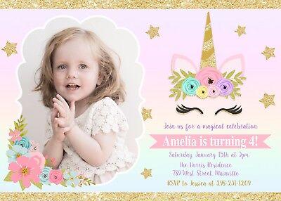 unicorn invitation unicorn birthday invitation photo floral gold pink ebay