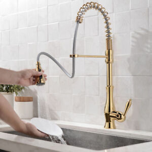 gold kitchen faucet 3 piece rug set modern gooseneck single handle function pull out sprayer image is loading