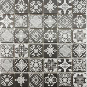 details about moroccan pattern white gray black mix mosaic tile shower wall backsplash