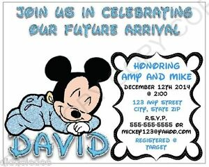 Details About Mickey Mouse Baby Shower Invitation Personalize Printable You Print Chgs Ok