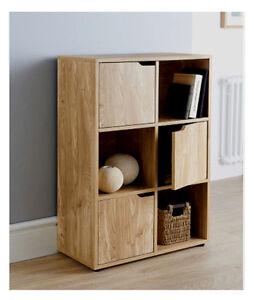 living room storage units asian colors for 6 cube oak turin wood finish shelf shelving books toys image is loading