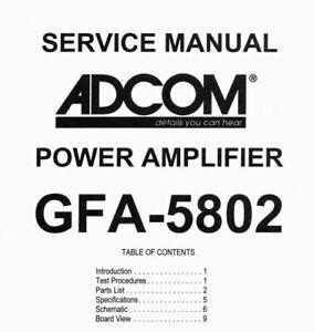 ADCOM GFA-5802 Schematic Diagram Service Manual Schaltplan