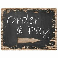 PP0408 Order Pay Here Sign Rustic Parking Plate Home ...