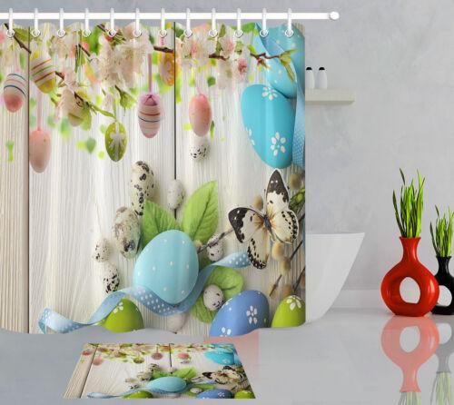 easter eggs butterfly wood texture bathroom waterproof fabric shower curtain set shower curtains patterer home garden