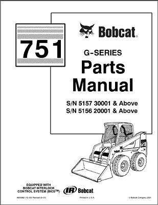 Bobcat 751 G-Series Skid Steer Loader Parts Manual on a CD