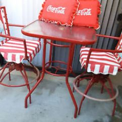 Coca Cola Chairs And Tables Striped Wingback Chair Slipcover Authentic Vintage Tall Type Pub Or Patio Table Swivle Image Is Loading 034