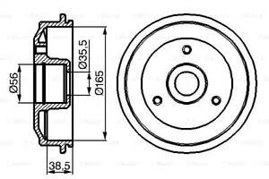 Brake Drum 165mm 58mm Fits CITROEN Ax Chanson PEUGEOT 106