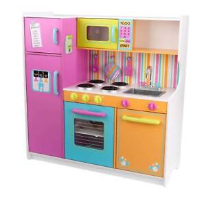 kidkraft toy kitchen dinette set 53100 deluxe big and bright wooden pretend play for kids multicolor