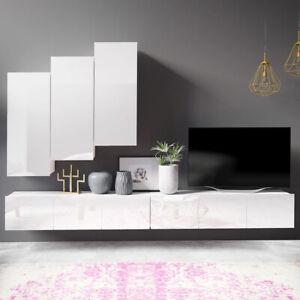 details zu wohnwand kirdon hangend stehend weiss hochglanz hangeschranke tv boards 300 cm