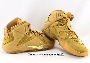 Nike Lebron XII EXT QS - CHOOSE SIZE - 744287-700 Wheat Gold Brown 12 Tan Cork | eBay