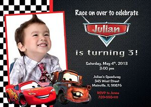 details about cars lightning mcqueen tow mater birthday party invitation
