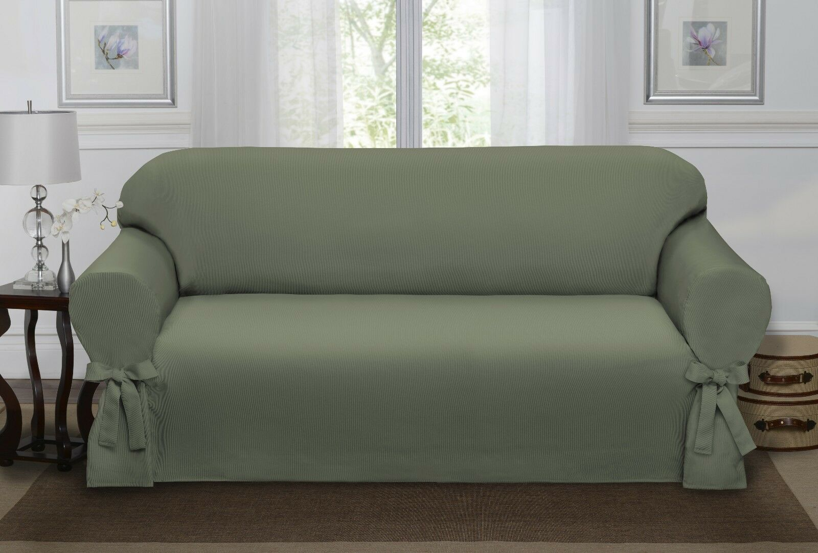 SAGE GREEN LODEN LUCERNE SOFA SLIPCOVER COUCH COVER SOFA CHAIR 4 COLORS  eBay