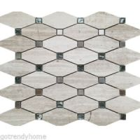 Beige Elongated Octagon Glass Stone Metal Mosaic Tile